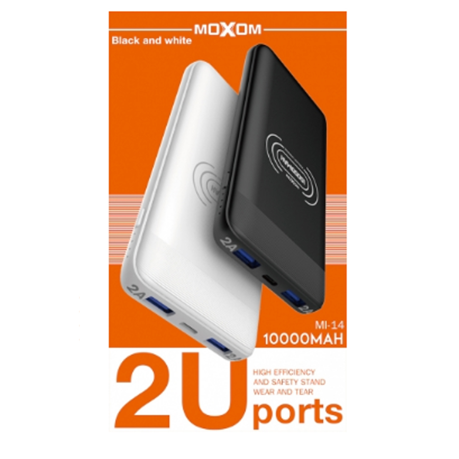 АКБ PowerBank MOXOM Wireless MI-14 (10000mAh) белый