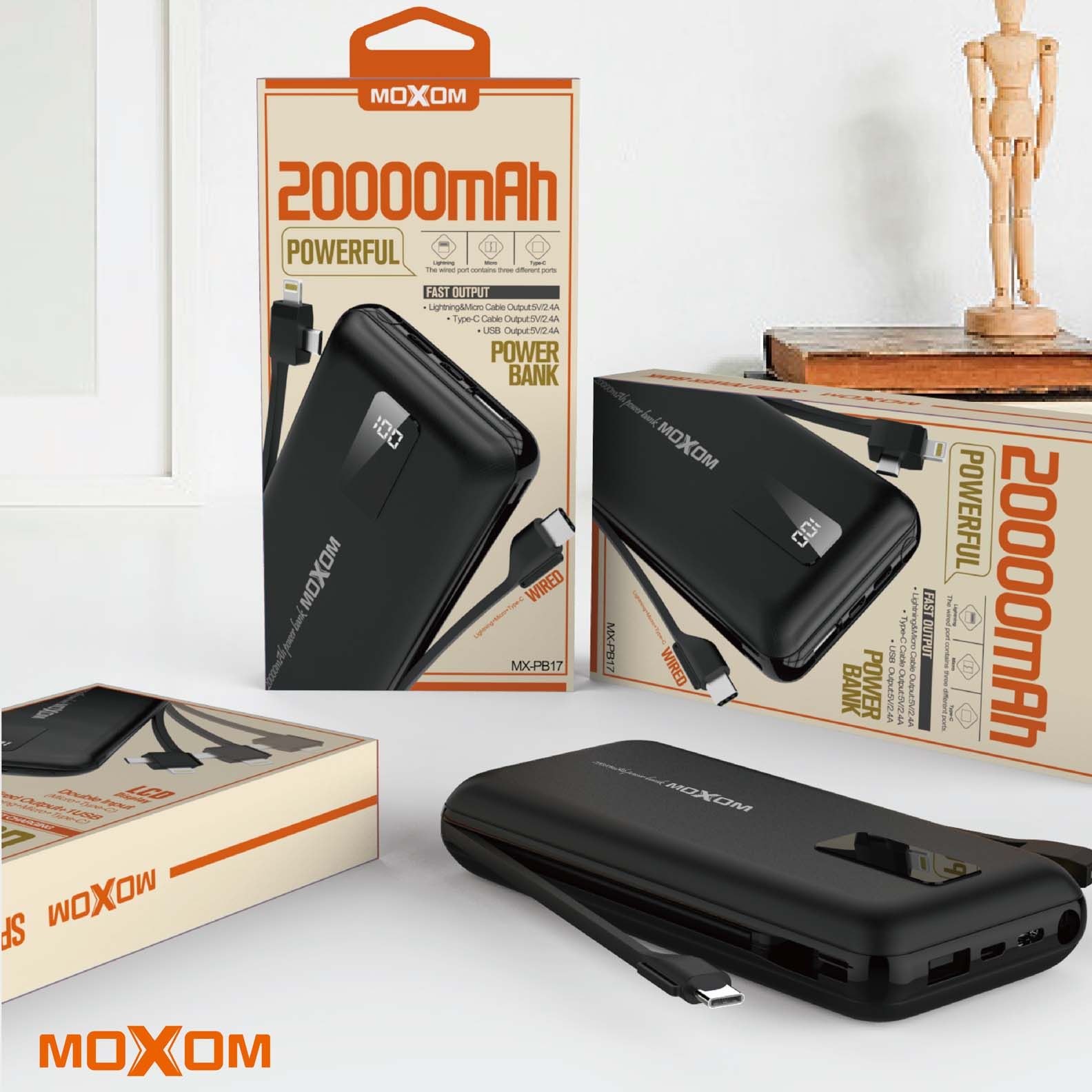 АКБ PowerBank MOXOM MX-PB17 (20000 mAh) черный